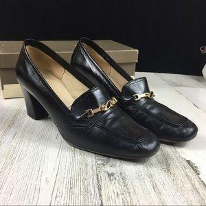 Vintage Hana Mackler Black Leather Loafer Shoes